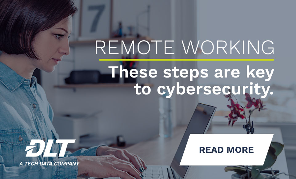 Woman working on laptop at home. Text reads: Remote Working. These steps are key to cybersecurity.