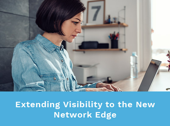 Woman working from home in a well-lit room. Text reads: Extending Visibility to the New Network Edge