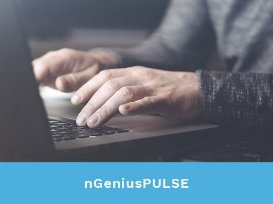 Man's hands typing on laptop. Text reads: nGeniusPULSE
