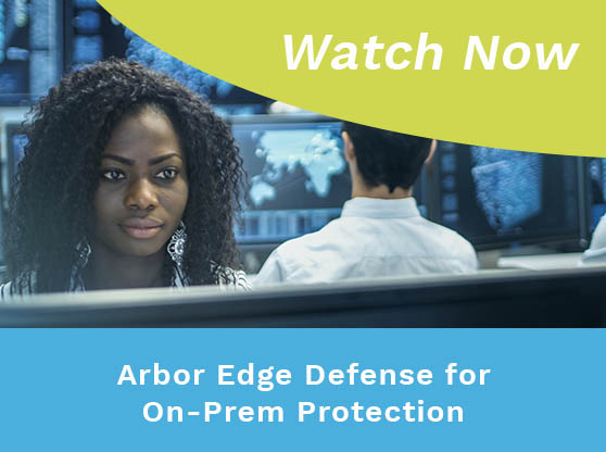Woman and man working in control center. Text reads: Arbor Edge Defense for On-Prem Protection