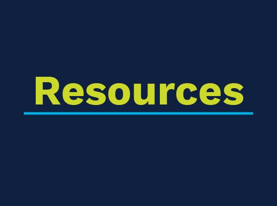 Dark blue square with text. Text reads: Resources