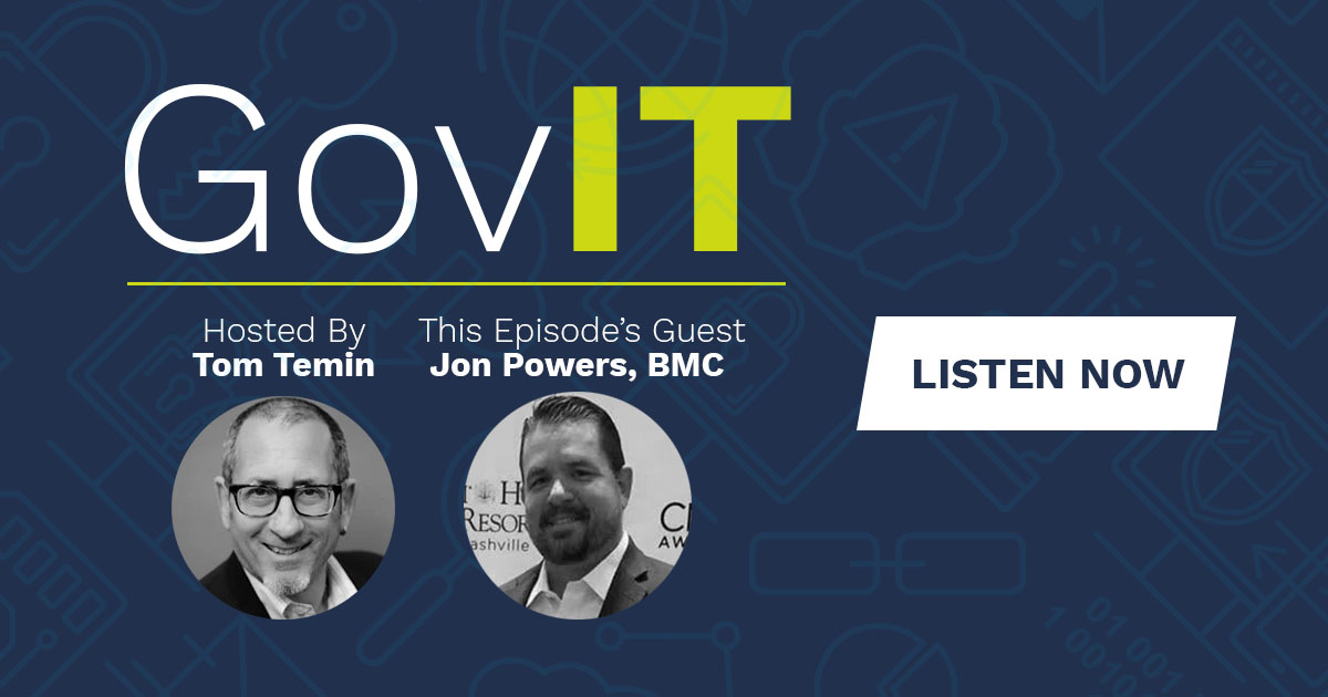 Text reads: DLT's GovIT Podcast: Episode 2 Featuring BMC Software