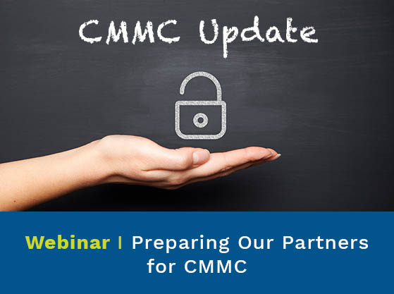 Padlock resting on an open palm. Text reads: CMMC Update. Upcoming Virtual event. Preparing our Partners for CMMC
