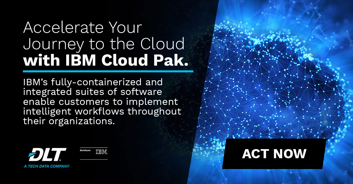 Hundreds of points connected in a cloud. Text reads: Accelerate your journy to the cloud with IBM Cloud Pak
