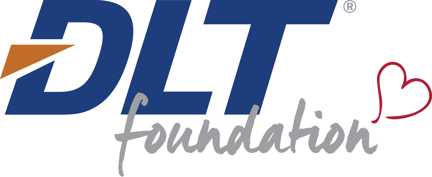 Blue and orange logo for the DLT Foundation