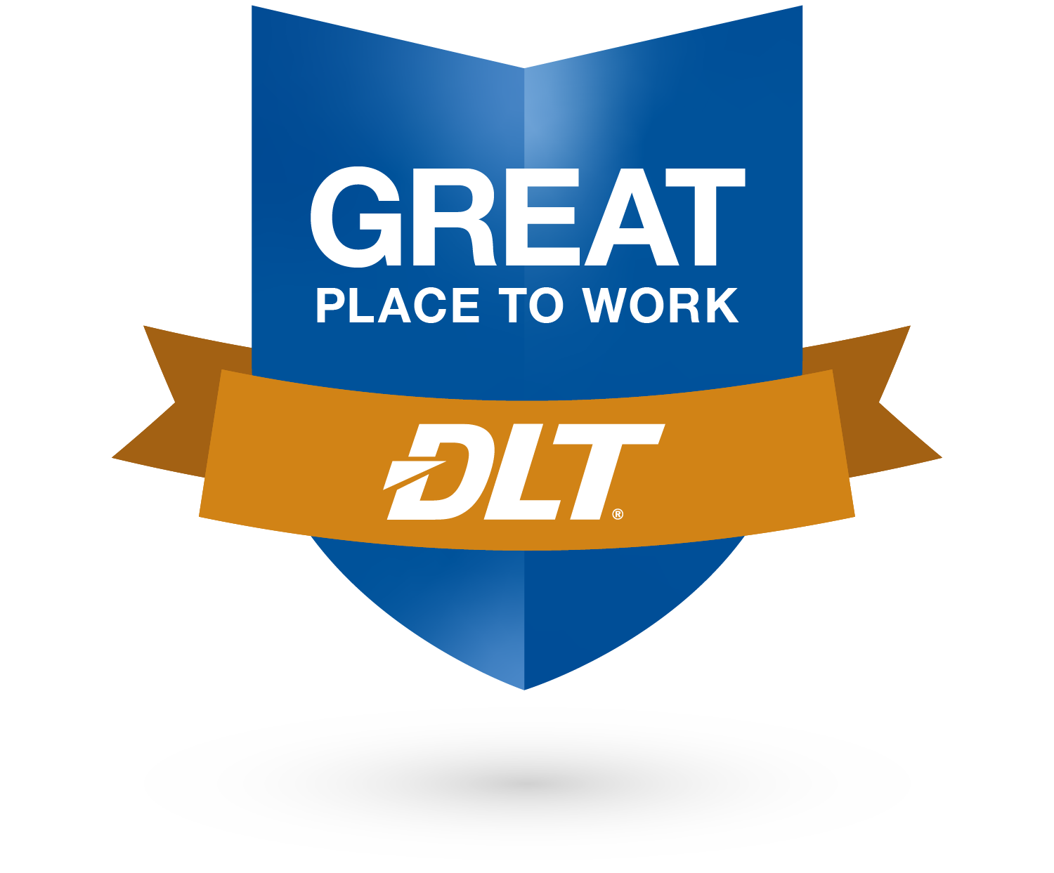 Badge with a ribbon across it. Text reads: Great Place to work. DLT