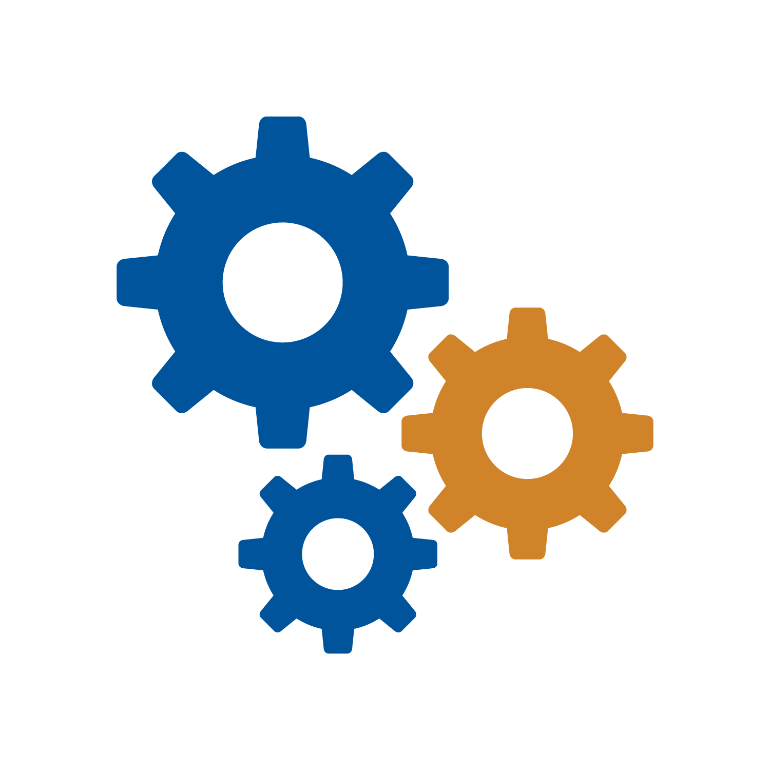 Blue and orange gears icons for Automation