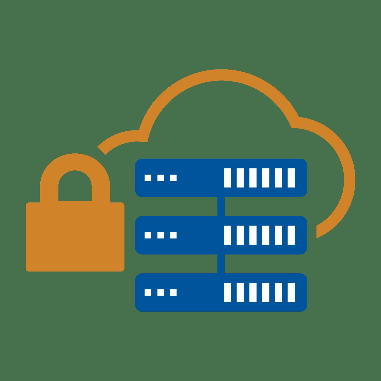 Orange padlock securing 3 server icons
