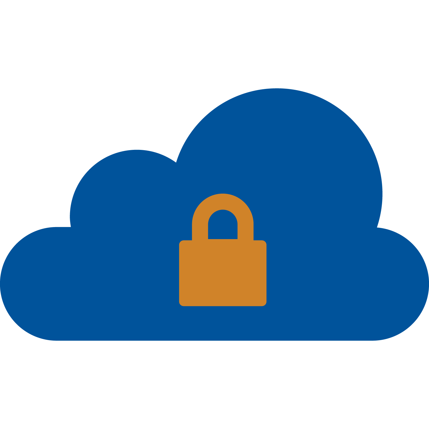 Blue cloud with a locked orange padlock