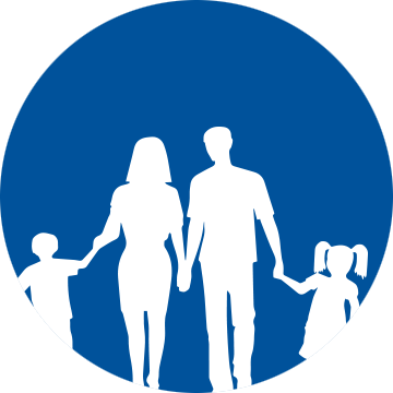 Silhouette of a family against a blue blackground