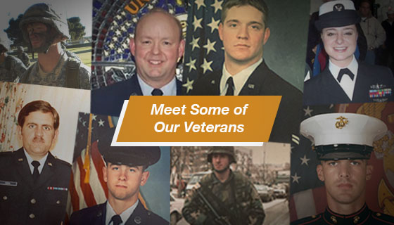 Collage of veterans who work at DLT. Text reads: Meet Our Veterans