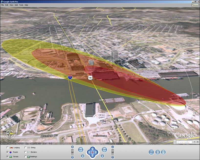 New ebook ubiquitous tools from google can help emergency a red and yellow cloud plume overlaid on a google earth aerial map helps first responders fandeluxe Gallery