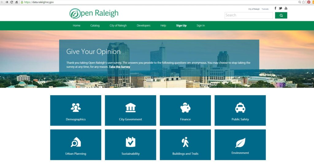 "The City of Raleigh's award-winning ""Open Raleigh"" provides citizens with access to over 700 data sets"