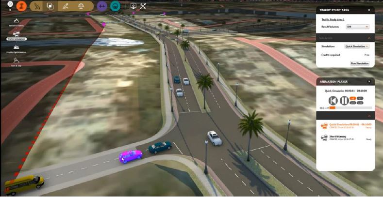 The highly intuitive graphical interface of the Traffic Simulation module makes it clear when roads have exceeded capacity requirements and make it easy to identify where changes need to be made.
