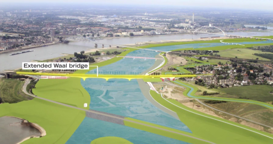 New city bridges, weirs, and redirected dikes are just some of the complex infrastructure changes to prevent flooding in the city of Nijmegen. Image credit: iNFRANEA.