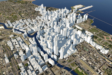 3D city model of Chicago created in InfraWorks 360 by Cyber City 3D.