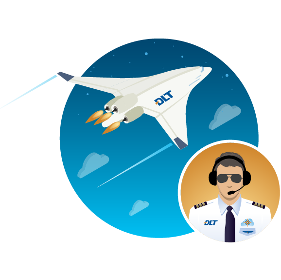 Graphic of pilot and plane cruising at altitude