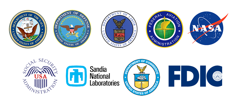 Logos of the EAP Current Deployments: DoN, DoD, Sandi, NASA, DoC, SSA