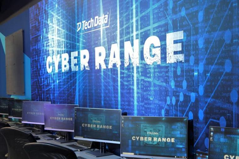 wall showing tech data cyber range with computers