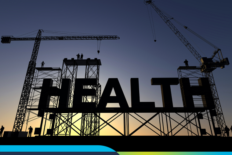 The word HEALTH with construction