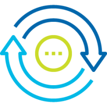 Icon for Application Lifecycle.2 arrows revolving around a circle with 3 dots