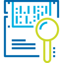 Icon for Big Data & Analytics. A magnifying glass placed over a spreadsheet